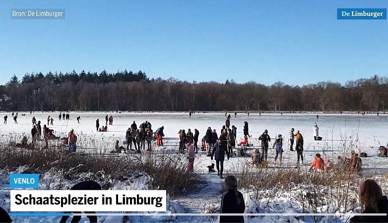 Video: Flinke drukte op Limburgse schaatsvijvers, maar nergens problemen