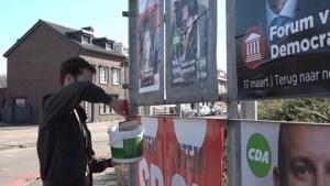 Verkiezingsposters beklad en overgeplakt in Kerkrade: Van Helvert en Rutte moeten het ontgelden