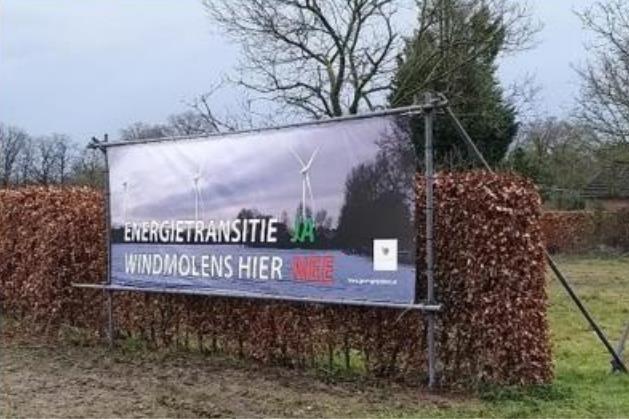 Werkgroep plaatst spandoeken tegen komst windmolens in Geijsteren
