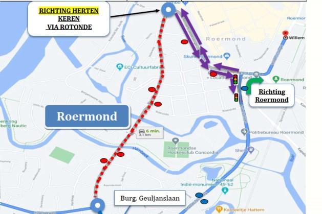 Werkzaamheden aan de Burgemeester Geuljanslaan in Roermond