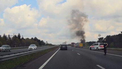 Video: Auto in brand op oprit A73