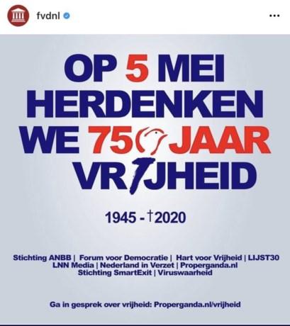 Politici verontwaardigd over 'Bevrijdingsdag-poster' FvD