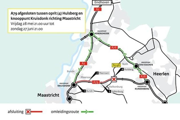 A79 van 28 mei tot 27 juni afgesloten tussen oprit Hulsberg en knooppunt Kruisdonk richting Maastricht
