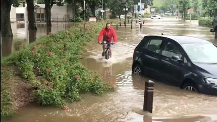 Video: Deze fietser laat zich door niets of niemand afschrikken