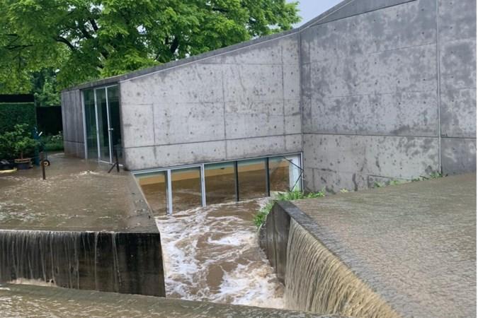 Buitenplaats Kasteel Wijlre onder water, kunstwerken net op tijd gered van wassende water