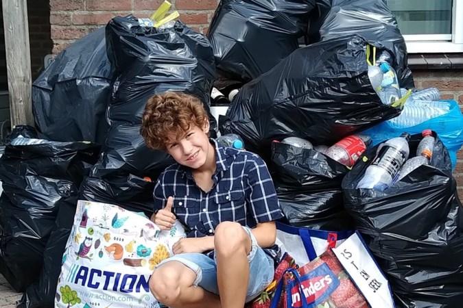 Fabian (8) ziet watergeweld en komt direct in actie: 'Twee dagen bezig en al de halve tuin gevuld met flessen'